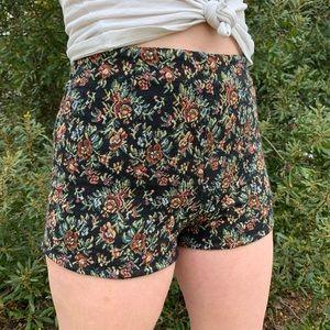 UO Floral Brocade Hot Shorts
